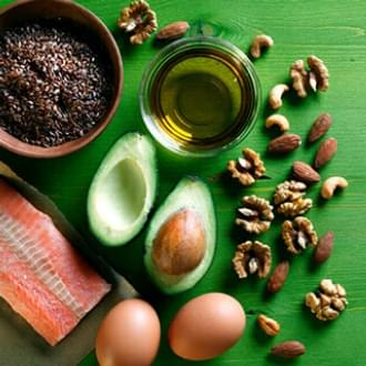 salmon avocado nuts eggs olive oil ingredients table healthy diet fats holmes place