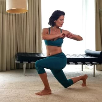 Travel workout, woman exercising indoors room