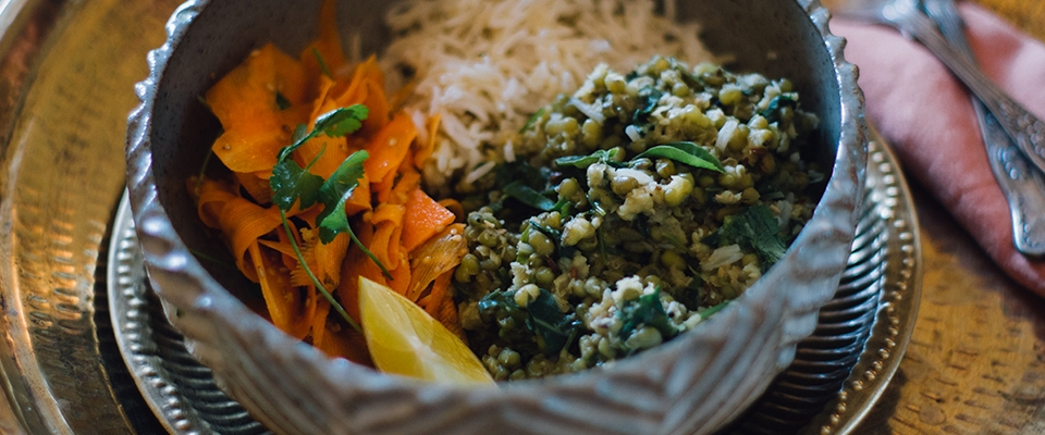 food bowl dish Indian moong dal chard carrot salad Holmes Place