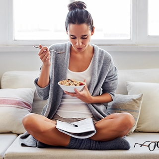 food can cause and prevent migraines headaches woman eating healthy happy clean Holmes Place