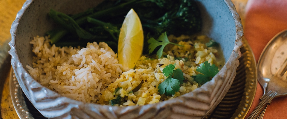 simple dal recipe Ayurvedic cleanse detox recipe lemon coriander ginger yellow split lentils